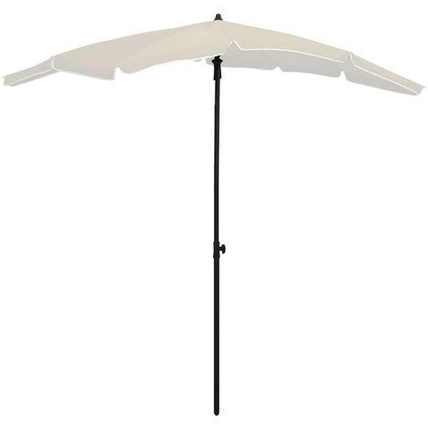 vidaXL Garden Parasol with Pole 200x130 cm Sand - Cream