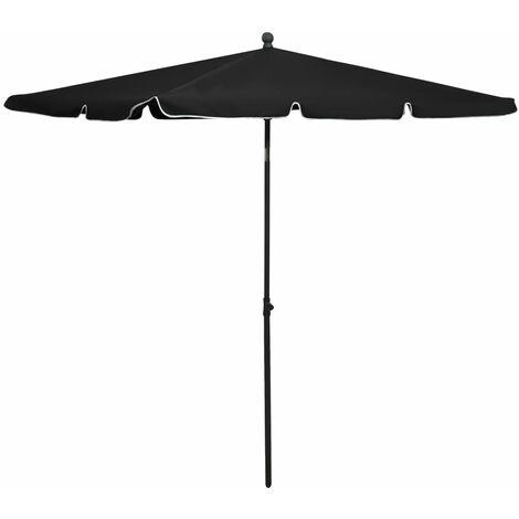 vidaXL Garden Parasol with Pole 210x140 cm Black - Black