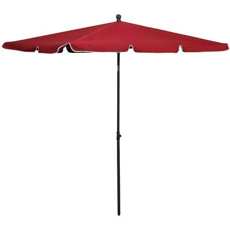 vidaXL Garden Parasol with Pole 210x140 cm Bordeaux Red - Red