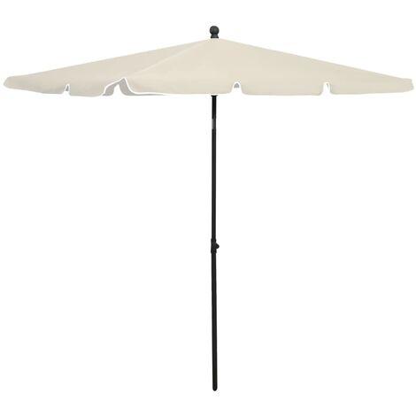 vidaXL Garden Parasol with Pole 210x140 cm Sand - Cream