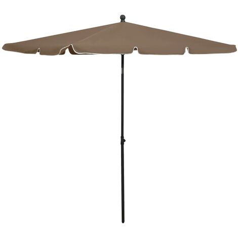 vidaXL Garden Parasol with Pole 210x140 cm Taupe - Taupe