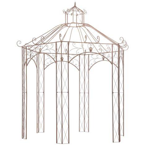 vidaXL Garden Pavilion Antique Brown Iron Outdoor Patio Rose Arch Gazebo 3m/4m