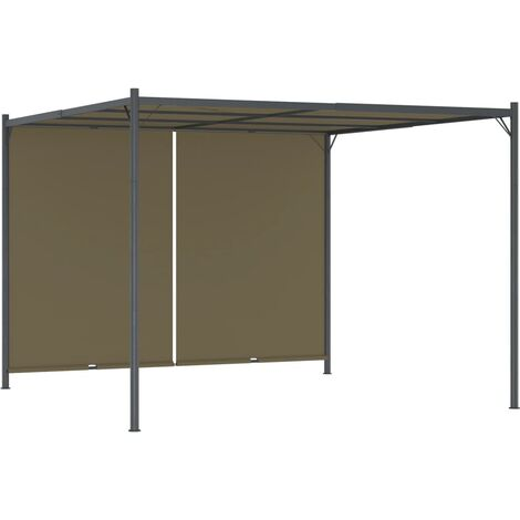 vidaXL Garden Pergola with Retractable Roof 3x3 m Taupe 180 g/m² - Taupe