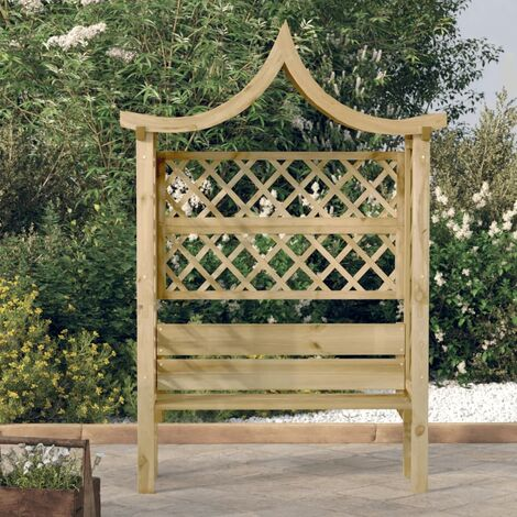 vidaXL Garden Pergola with Roof and Bench Impregnated Pinewood - Green