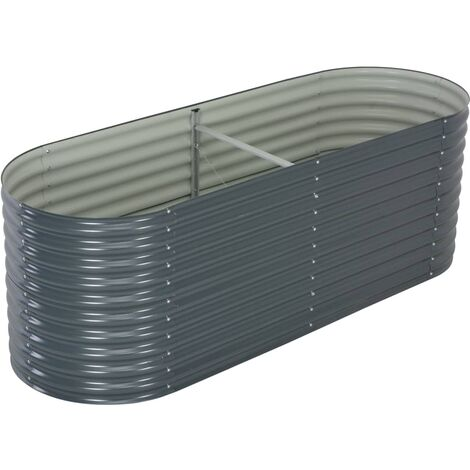 "main image of ""vidaXL Garden Planter Outdoor Indoor Home Decor Patio Terrace Raised Bed Pots Flower Box Container Galvanised Steel Silver/Grey Multi Size"""