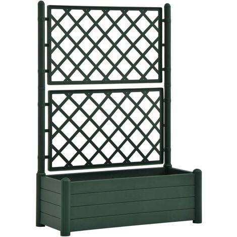 vidaXL Garden Planter with Trellis 100x43x142 cm PP Green - Green