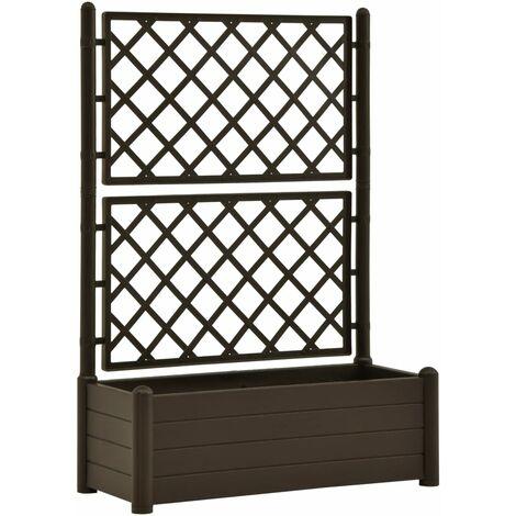 vidaXL Garden Planter with Trellis 100x43x142 cm PP Mocha - Brown