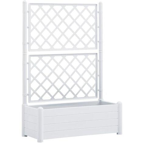 vidaXL Garden Planter with Trellis 100x43x142 cm PP White - White