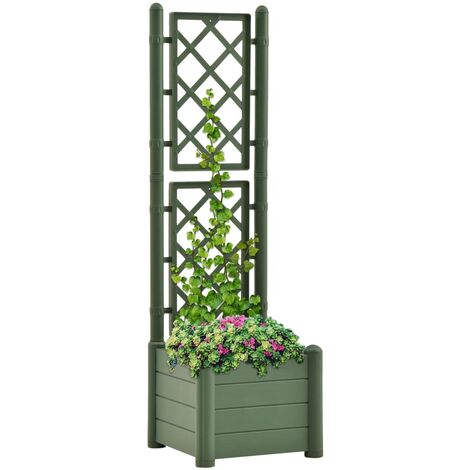 vidaXL Garden Planter with Trellis 43x43x142 cm PP Green - Green
