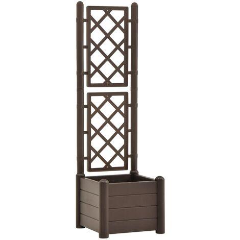 vidaXL Garden Planter with Trellis 43x43x142 cm PP Mocha - Brown