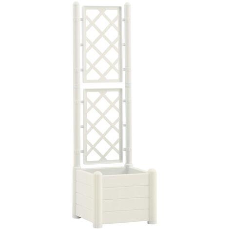 vidaXL Garden Planter with Trellis 43x43x142 cm PP White - White