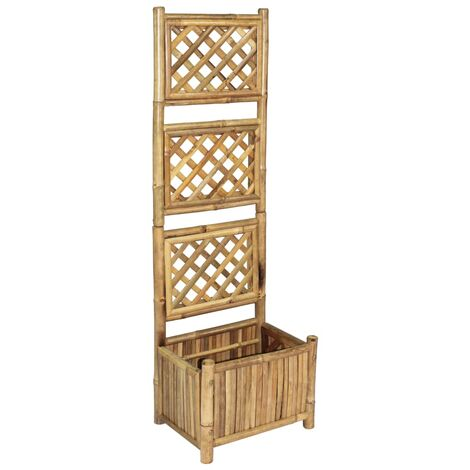 vidaXL Garden Planter with Trellis Bamboo Raised Bed Flower Climbing 40cm/70cm