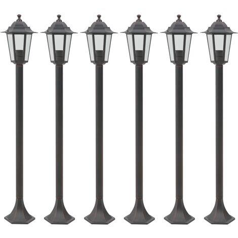 vidaXL Garden Post Lights 6 pcs E27 110 cm Aluminium Bronze - Brown
