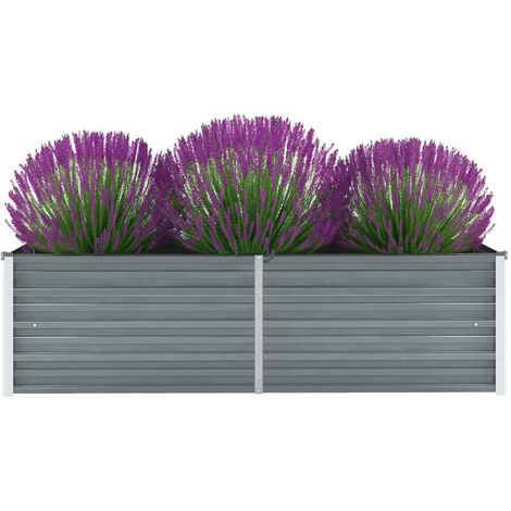 "main image of ""vidaXL Garden Raised Bed Galvanised Steel 160x40x45 cm Grey - Grey"""