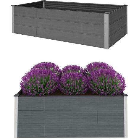 vidaXL Garden Raised Bed Grey 200x100x54 cm WPC - Grey