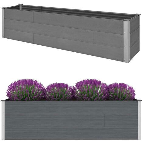 vidaXL Garden Raised Bed Grey 200x50x54 cm WPC - Grey