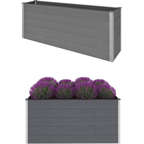 vidaXL Garden Raised Bed Grey 200x50x91 cm WPC - Grey