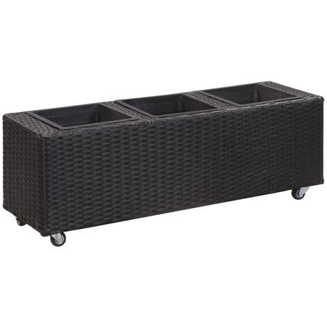 vidaXL Garden Raised Bed with 3 Pots 100x30x36 cm Poly Rattan Black - Black