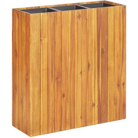 vidaXL Garden Raised Bed with 3 Pots Solid Acacia Wood - Brown