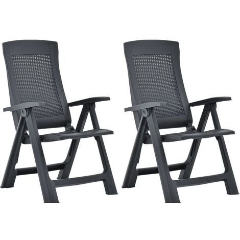 vidaXL Garden Reclining Chairs 2 pcs Plastic Anthracite - Anthracite