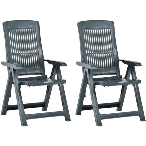 vidaXL Garden Reclining Chairs 2 pcs Plastic Green - Green