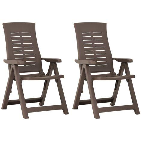 vidaXL Garden Reclining Chairs 2 pcs Plastic Mocha - Brown