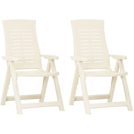 vidaXL Garden Reclining Chairs 2 pcs Plastic White - White