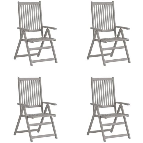 vidaXL Garden Reclining Chairs 4 pcs Grey Solid Acacia Wood - Grey