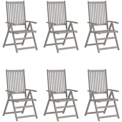 vidaXL Garden Reclining Chairs 6 pcs Grey Solid Acacia Wood - Grey