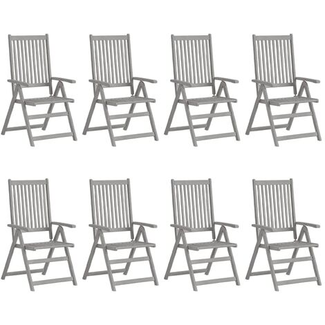 vidaXL Garden Reclining Chairs 8 pcs Grey Solid Acacia Wood - Grey