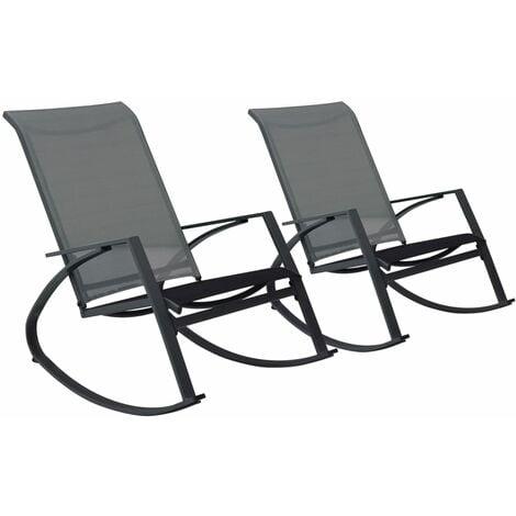 vidaXL Garden Rocking Chairs 2 pcs Textilene Dark Grey - Grey
