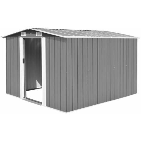vidaXL Garden Shed 257x298x178 cm Metal Grey - Grey