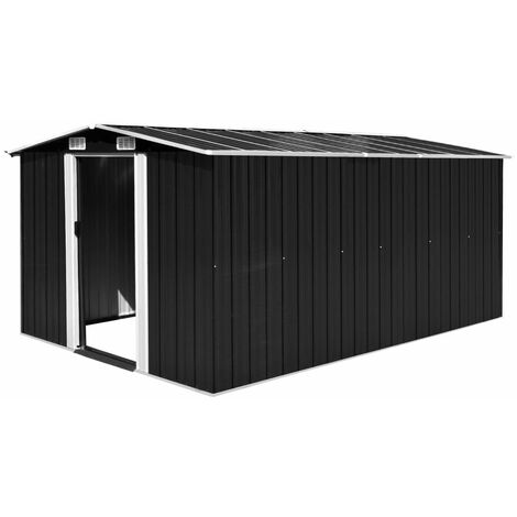 vidaXL Garden Shed 257x392x181 cm Metal Anthracite - Black