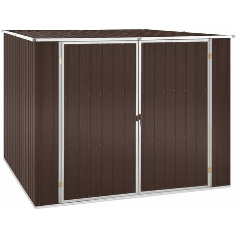vidaXL Garden Shed Brown 195x198x159 cm Galvanised Steel - Brown