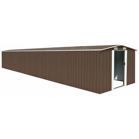 vidaXL Garden Shed Brown 257x779x181 cm Galvanised steel - Brown