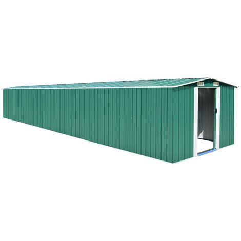 vidaXL Garden Shed Green 257x779x181 cm Galvanised steel - Green