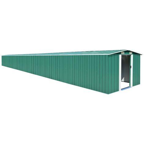 vidaXL Garden Shed Green 257x990x181 cm Galvanised steel - Green