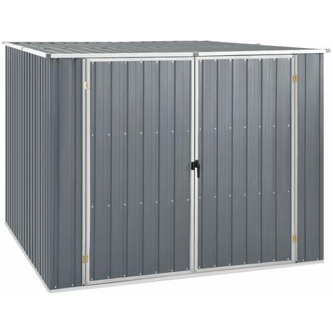 vidaXL Garden Shed Grey 195x198x159 cm Galvanised Steel - Grey