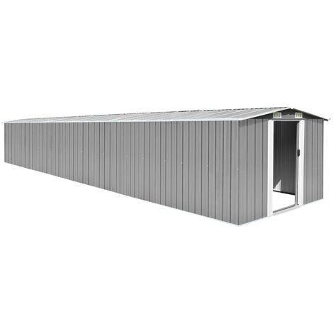 vidaXL Garden Shed Grey 257x779x181 cm Galvanised steel - Grey