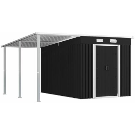 vidaXL Garden Shed with Extended Roof Anthracite 336x270x181 cm Steel - Grey