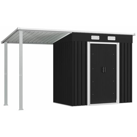vidaXL Garden Shed with Extended Roof Anthracite 346x121x181 cm Steel - Grey