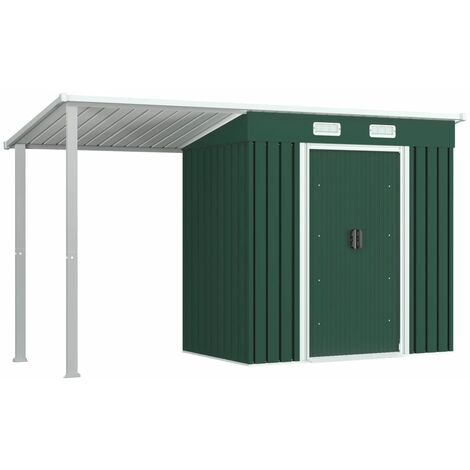 vidaXL Garden Shed with Extended Roof Green 346x121x181 cm Steel - Green