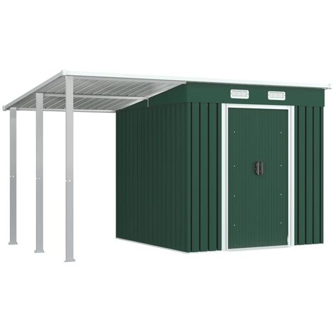 vidaXL Garden Shed with Extended Roof Green 346x193x181 cm Steel - Green
