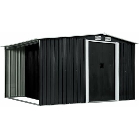 vidaXL Garden Shed with Sliding Doors Anthracite 329.5x131x178 cm Steel - Grey