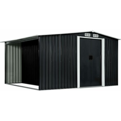 vidaXL Garden Shed with Sliding Doors Anthracite 329.5x259x178 cm Steel - Grey