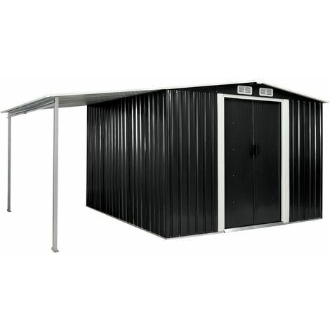 vidaXL Garden Shed with Sliding Doors Anthracite 386x259x178 cm Steel - Grey