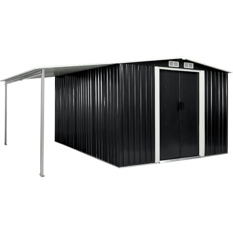 vidaXL Garden Shed with Sliding Doors Anthracite 386x312x178 cm Steel - Grey