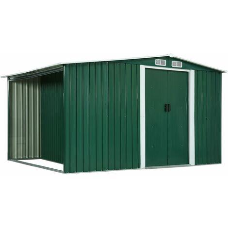 vidaXL Garden Shed with Sliding Doors Green 329.5x131x178 cm Steel - Green