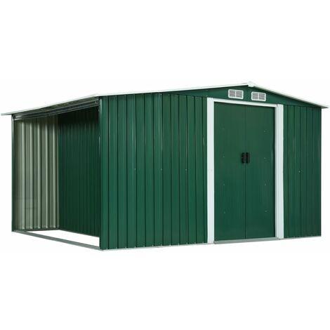 vidaXL Garden Shed with Sliding Doors Green 329.5x205x178 cm Steel - Green
