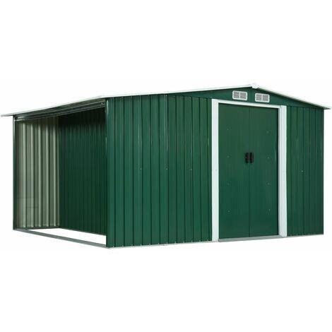 vidaXL Garden Shed with Sliding Doors Green 329.5x259x178 cm Steel - Green